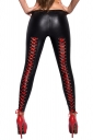 Low Rise Back Cross Lace Up Imitation Leather Leisure Pants Red