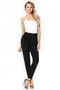 High Waisted With Belt Pocket Plain Leisure Harem Pants Black