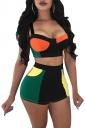 Crop Camisole Top&High Waisted Shorts Color Block Fitting Suit Black
