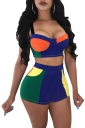 Crop Camisole Top&High Waisted Shorts Color Block Fitting Suit Sapphire