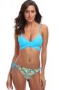 Spaghetti Straps V Neck Bandage Top Fruits Print String Bikini Blue
