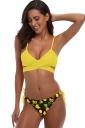 Spaghetti Straps V Neck Bandage Top Fruits Print String Bikini Yellow