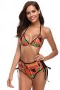 Deep V Halter Backless High Waisted Geometric Print String Bikini Orange
