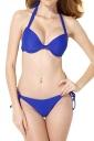 Halter Backless Pleated Top&High Cut Bottoms Tie String Bikini Sapphire