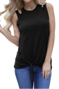 Crew Neck Cut Out Tie Front Loose Plain Tank Top Black