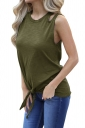 Crew Neck Cut Out Tie Front Loose Plain Tank Top Green