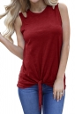Crew Neck Cut Out Tie Front Loose Plain Tank Top Red
