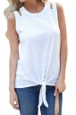 Crew Neck Cut Out Tie Front Loose Plain Tank Top White