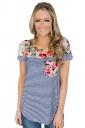 Crew Neck Short Sleeve Pocket Front Flower Print Stripe T Shirt Blue