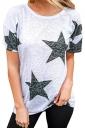 Comfortable Crew Neck Short Sleeve Stars Print Loose T Shirt Black
