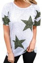 Comfortable Crew Neck Short Sleeve Stars Print Loose T Shirt Green