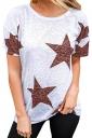 Comfortable Crew Neck Short Sleeve Stars Print Loose T Shirt Ruby