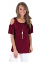 Crew Neck Cold Shoulder Ruffle Short Sleeve Pleated Plain T Shirt Ruby