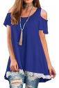 Cold Shoulder Short Sleeve Lace Hem High Low Loose Plain T Shirt Blue
