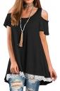 Cold Shoulder Short Sleeve Lace Hem High Low Loose Plain T Shirt Black