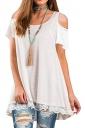 Cold Shoulder Short Sleeve Lace Hem High Low Loose Plain T Shirt White