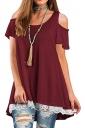 Cold Shoulder Short Sleeve Lace Hem High Low Loose Plain T Shirt Ruby