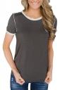 Simple Trim Crew Neck Short Sleeve Color Block T Shirt Coffee