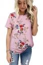 Crew Neck Short Sleeve Flower Print Loose T Shirt Pink
