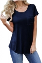 Simple Crew Neck Short Sleeve Pocket Front Plain T Shirt Navy Blue