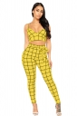 V Neck Spaghetti Straps Crop Top High Waisted Plaid Two Piece Suit Yellow