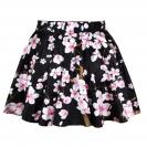 Black Fancy Plum Blossom Printed Ladies Pleated Skirt