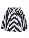 Black and White Stripe Classic Womens Sexy Pleated Skirt