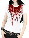 White Cool Blood Printed Gothic Punk T-shirt