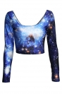 Blue Long Sleeves Ladies Galaxy Fancy Crew Neck Crop Top