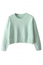 Turquoise Ladies Casual Fancy Long Sleeves Cropped Pullover Sweater