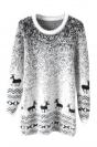 Black Mohair Reindeer Pullover Gradient Ugly Christmas Sweater