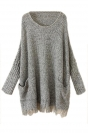 Gray Ladies Fringe Batwing Sleeve Oversized Pullover Sweater