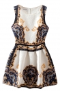 Beige Womens Elegant Sleeveless Winter Skater Dress
