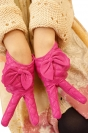 Rose Red Womens Winter Warm Short Cute Bow Leather Gloves