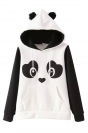 Black Cute Panda Ladies Printed Fleece Casual Hoodie