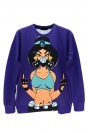 Purple Ladies Jumper Crew Neck Punk Beauty Printed Sweatshirt