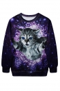 Purple Womens Crew Neck Pullover Cat Galaxy Printed Sweatshirt