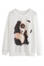 White Womens Cute Panda Printed  Crew Neck Sweatshirt