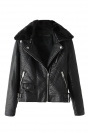 Black Pretty Womens Inclined Zipper Fur Collar Jacket