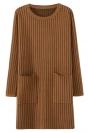 Khaki Womens Striped Thick Pockets Long Sleeve Sweater Dress