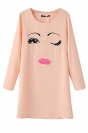 Womens Chiffon Crew Neck Long Sleeve Face Printed Shift Dress