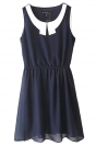 Navy Blue Ladies Peter Pan Collar Shirt Chiffon Smock Tank Dress