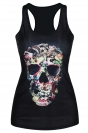 Black Stylish Ladies 3D Animal Skull Printed Tank Top