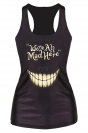 Black Ladies 3D Smile We Are All Mad Here Printed Tank Top