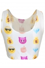 White Ladies Cute Emoji Printed Tank Crop Top