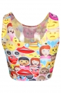 Yellow Womens Cute Emoji Printed Chic Tank Crop Top