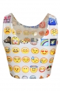 White Ladies Fashion Emoji Funny Tank Crop Top