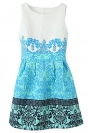 Blue Vintage Floral Ladies Elegant Slim Flare Skater Dress