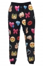 Black Womens Cute Emoji Printed Fashion Leisure Pants