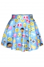 Blue Cute Ladies Funny Emoji Printed Chic Pleated Skirt